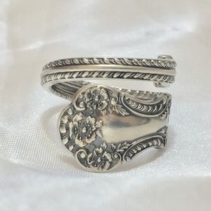 1800's Sterling Silver Spoon Ring Size 10.5